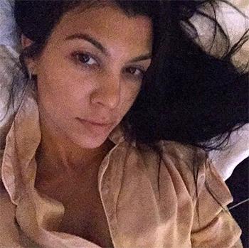 InstaFashion - Kourtney Kardashian wearing Maison de Papillon Classic Silk Pajama Set