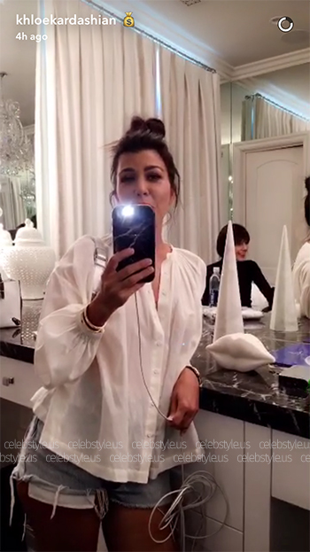 Snapchat - Kourtney Kardashian wearing ROLLA's, RE/DONE and Australia Luxe Collective George Oxford.
