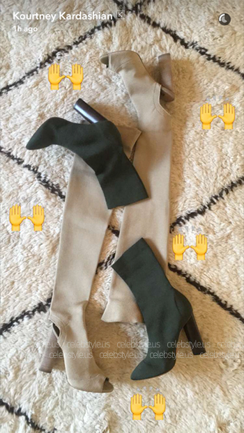 Yeezy Season 2 Knitted Boots as seen on Kourtney Kardashian Snapchat - August 2016.