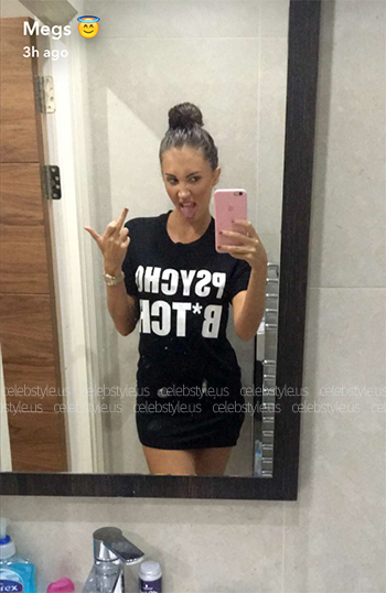 Seen on Megan McKenna Snapchat (August 16) - Misspap Psycho B*tch Top in Black.