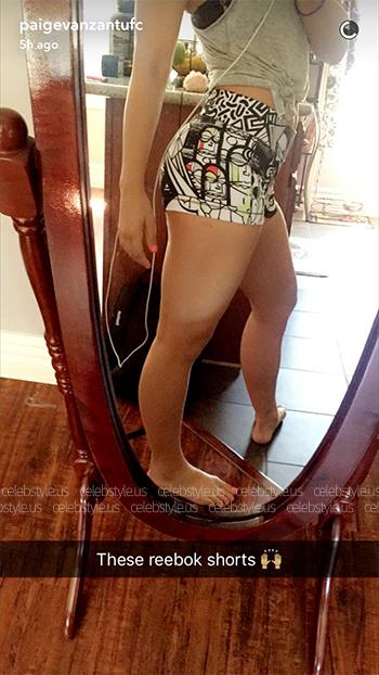 Paige VanZant wearing Reebok Yoga Graffiti Collab Hot Shorts on her Snapchat - August 2016.