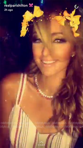 Tularosa Toni Striped Cutout Gown as seen on Paris Hilton Snapchat - August 2016.