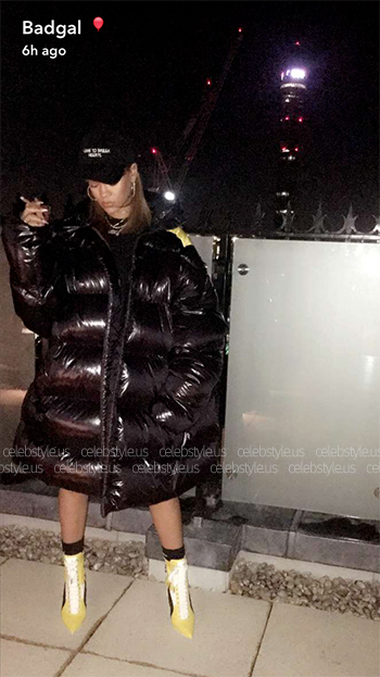 Seen on Rihanna Snapchat: Raf Simons Black Down Oversized Coat
