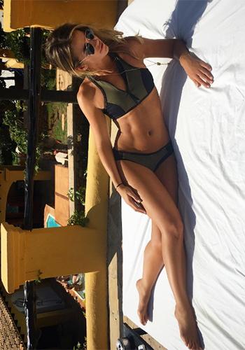 Vogue Williams Instagram - River Island Khaki Zip Front Bikini