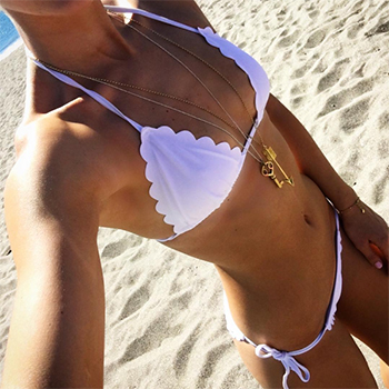 Vogue Williams Instagram - South Beach Crochet Triangle Bikini Set