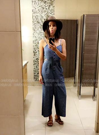 Seen on Jenna Dewan-Tatum Snapchat: Madewell Chambray Cutout Jumpsuit