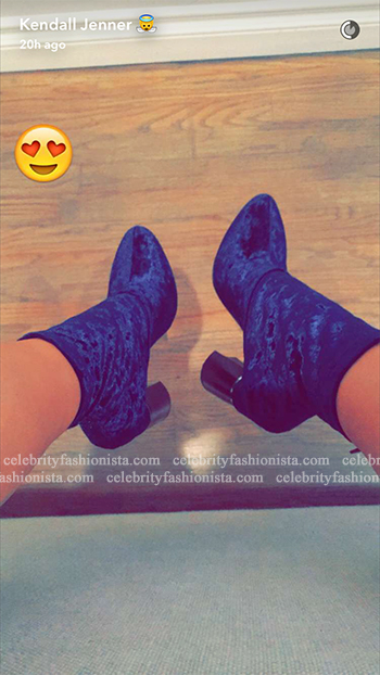 Kendall Jenner Snapchat: 3.1 Phillip Lim Kyoto Velvet Block-Heel Booties