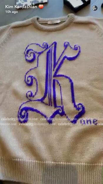 Kim Kardashian Snapchat: Christopher Kane Knitted Monogram Jumper