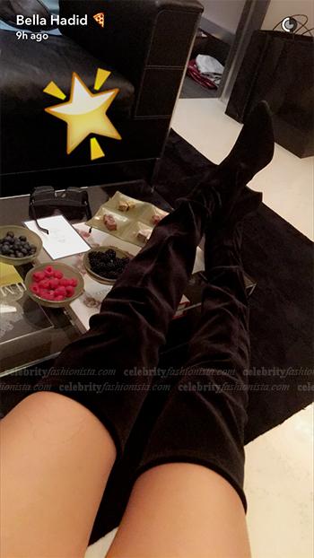 Bella Hadid Snapchat: Stuart Weitzman Alllegs Velvet Over-The-Knee Boots