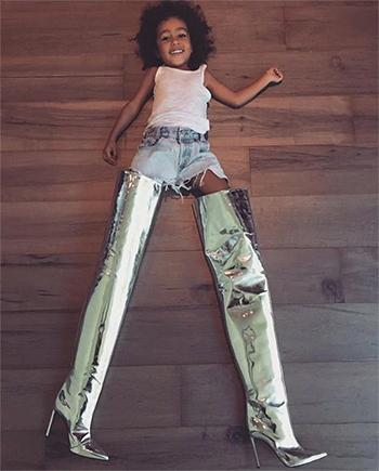 Kim Kardashian Twitter: North West photo with Balenciaga Silver Metallic Leather Thigh-High Boots