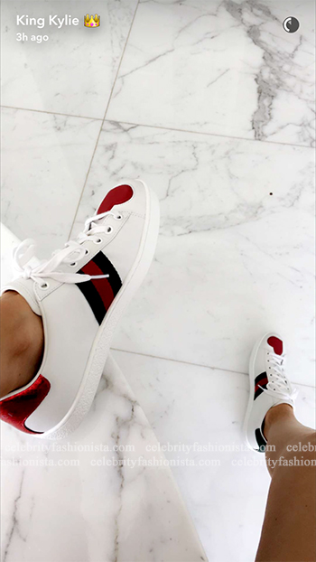 Kylie Jenner Snapchat: Gucci Ace Embroidered Low-Top Sneakers
