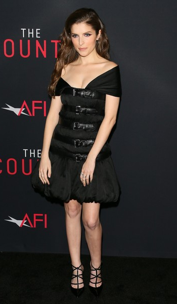 Anna Kendrick wears Jimmy Choo Natasha strappy pumps to The Accountant Hollywood premiere on October 10, 2016.