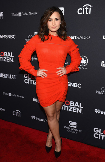 Demi Lovato 2016 Global Citizen Festival: Isabel Marant Red Qods Ruched Dress (September 24, 2016)