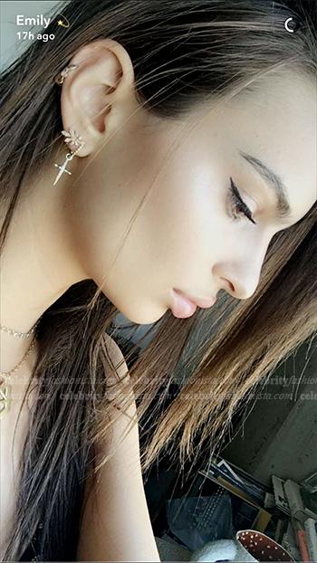 Emily Ratajkowski Snapchat Luv Aj Golden Rule Cross Hoop Earrings