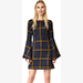 JOUR/NE Poet Sleeve Tartan Dress