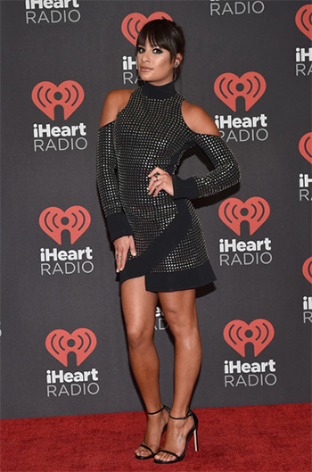 Lea Michele 2016 iHeartRadio Music Festival: David Koma Studded Open Shoulders Dress (September 26, 2016)