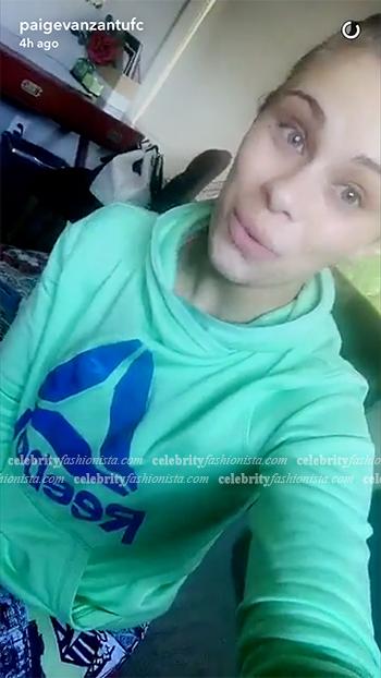 Paige VanZant Snapchat: Reebok Green Speedwick Cowl Neck Sweatshirt
