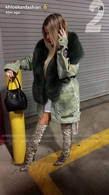 Khloe Kardashian wearing Off-White Patch Sleeve Military Jacket in Snapchat October 26, 2016
