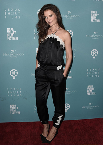 Katie Holmes in Maison Mayle Satin Halterneck Jumpsuit  at Napa Valley Film Festival 2016 — November 9, 2016
