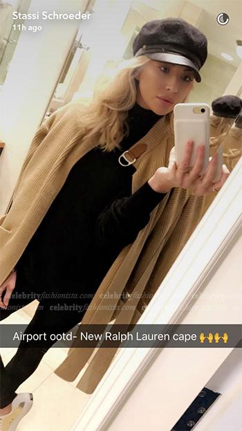 Stassi Schroeder Snapchat — Polo Ralph Lauren Leather-Trim Cardigan Cape