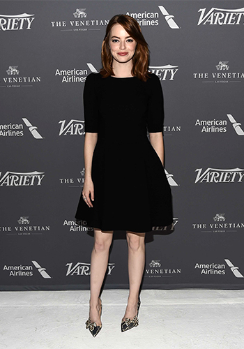 Emma Stone in Dolce & Gabbana dress and Christian Louboutin Madame Menodo Snakeskin pumps at Variety Studio: Actors on Actors event on November 12, 2016 in LA