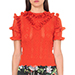 Gucci Ruffled Wool Top, Red