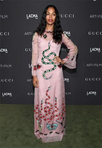 Zoe Saldana in Gucci Embroidered Silk Organdy Gown at 2016 Lacma Art + Film Gala — October 29, 2016.