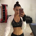Bella Hadid in Nike Pro Indy Techno Glitch Sports Bra