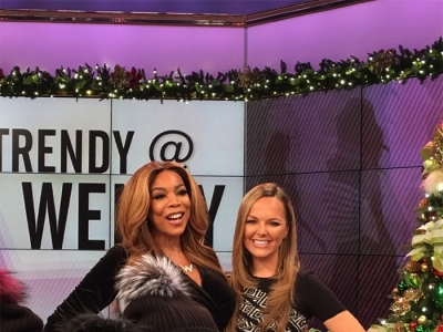 Nicole Lapin in Versace Jacquard Knit Dress on The Wendy Williams Show — November 2016