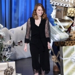 Emma Stone in Michael Kors lace top and pants, and Jimmy Choo heels on The Ellen Show — November 2016