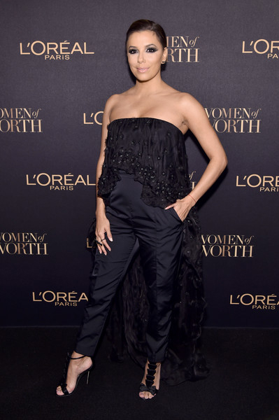 Eva Longoria in Olgana Paris La Delicate Bow T-strap Satin Sandal at L'Oreal Paris Women Of Worth Celebration 2016 — November 16, 2016