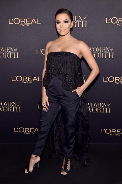 Eva Longoria in Olgana Paris La Delicate Bow T-strap Satin Sandal at L'Oreal Paris Women Of Worth Celebration 2016 — November 16, 2016