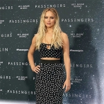 Jennifer Lawrence in Dolce & Gabbana Black & White Polka Dot Bustier and Christian Louboutin Neoalto Lace & Suede Pumpsat 'Passengers' Berlin Photocall — December 2, 2016