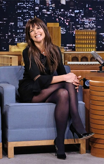Katie Holmes In Saint Laurent Babydoll Bow Mini Dress on The Tonight Show Starring Jimmy Fallon — December 6, 2016