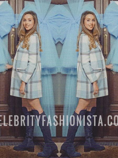 Emily Macdonagh, Miss Selfridge Blue Check Slouchy Coat (OK Magazine Christmas 2016 Issue)