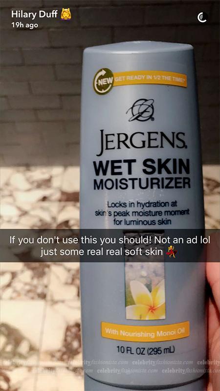 Hilary Duff Jergens Wet Skin Moisturizer - Monoi Oil (Snapchat December 2016)