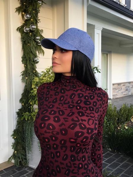 Kylie Jenner in Agent Provocateur Felinda Leopard Black Red Bodysuit (Instagram, Dec 20, 2016)