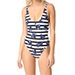 Proenza Schouler Striped Falling Flowers Swimsuit