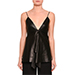 Valentino Leather V-Neck Ruffled Tank