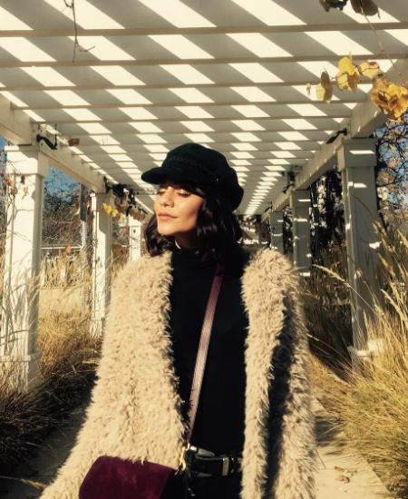 Vanessa Hudgens in AS By DF Elisabetta Shag Fur Jacket (Instagram December 2016)