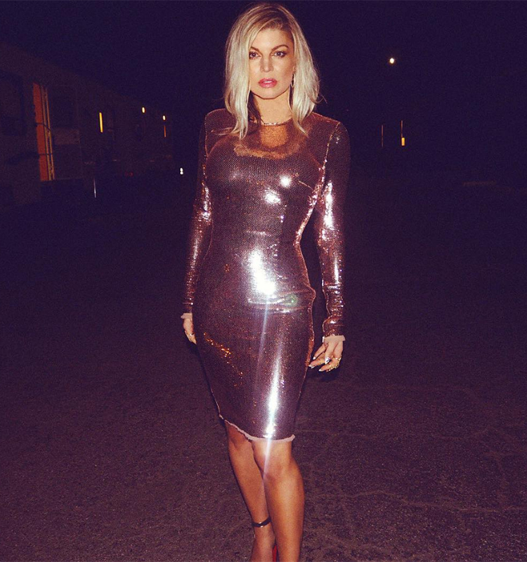 Fergie In Tom Ford Sequin Embellished Dress And Louboutin Louloudance Sandals On Nye 2016