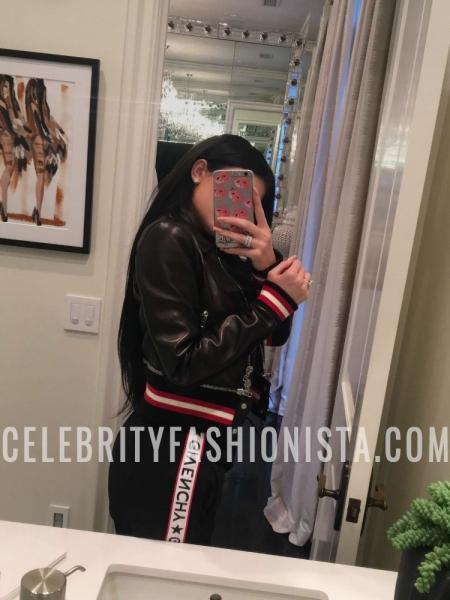 Kylie Jenner, Givenchy Leather Jacket and Black Logo Lounge Pants (Snapchat January 2017)