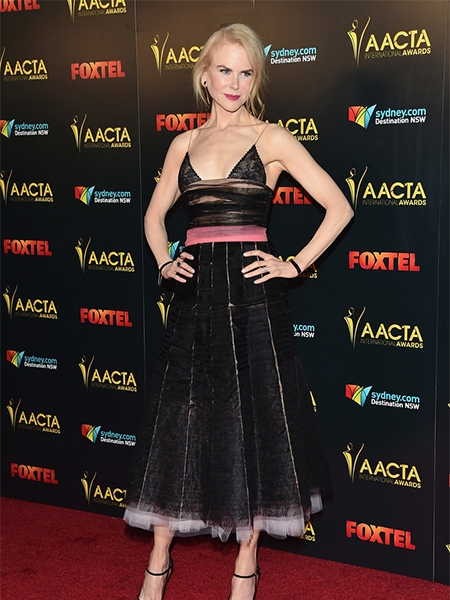 Nicole Kidman in Salvatore Ferragamo Erika Mesh Pumps at the 6th AACTA International Awards (Jan 6, 2017)