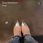 Faryal Makhdoom, Gianvito Rossi Plexi Metallic Illusion Silver Pump (Snapchat, Feb 11 2017)