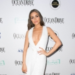 Olivia Culpo in Cushnie et Ochs Front Slit Double-Breasted Dress at Ocean Drive Magazine Cover Party (Jan 11, 2017)