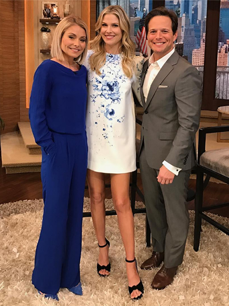 Ali Larter in Camilla & Marc Mayflower Floral Ponte Mini Dress on Live With Kelly (Instagram Jan 25, 2017)