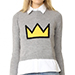 Alice + Olivia Ao X Basquiat Nikia Crown Pullover Sweater