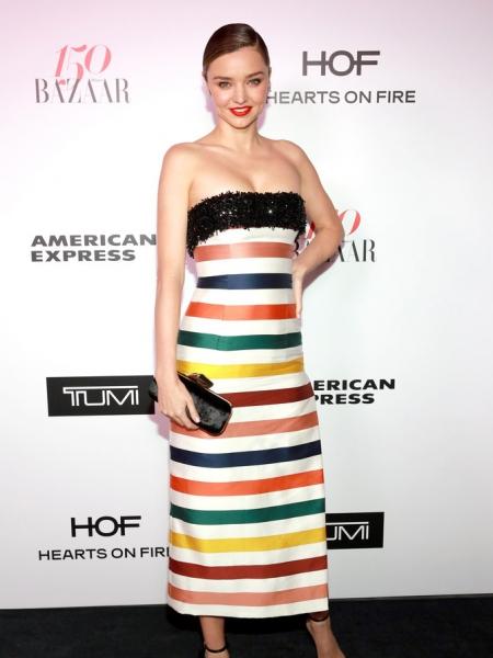 Miranda Kerr in Carolina Herrera Striped Strapless Gown at Harper's Bazaar 150 Most Fashionable Women (Jan 27 2017)