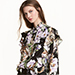 H&M Patterned Ruffled Blouse in Black Tiger