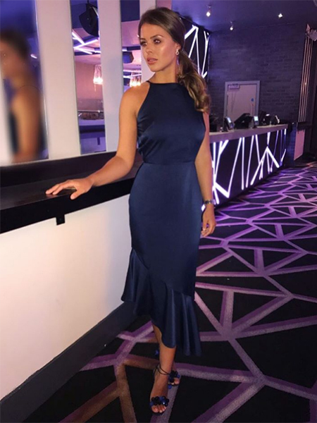 #TOWIE Chloe Lewis, Lavish Alice navy dress and Aquazzura shoes (Instagram, Feb 6, 2017)